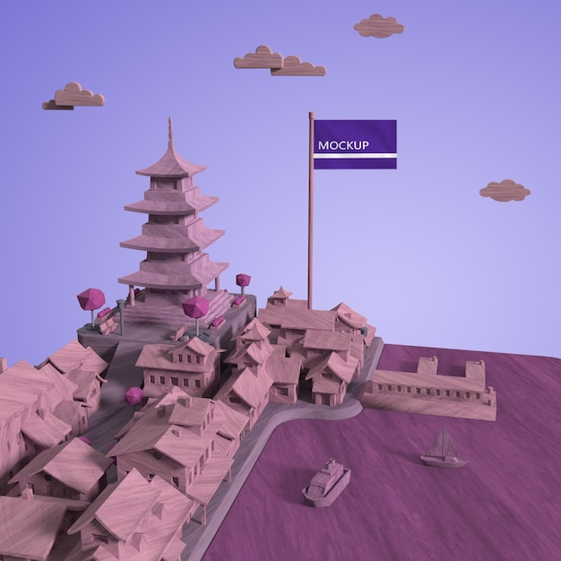Дизайн макета городского дня мира с макетом Бесплатные Psd