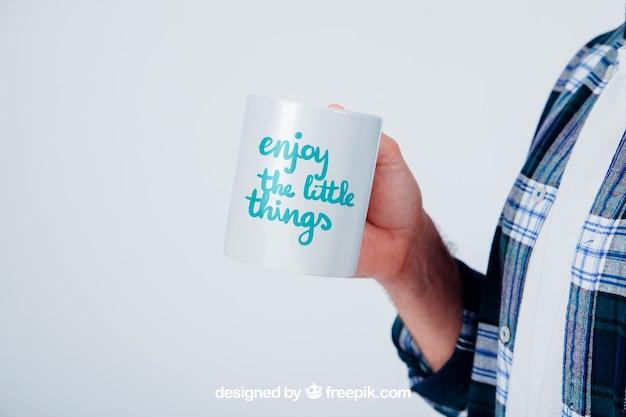 Дизайн макета с кружкой кофе Бесплатные Psd