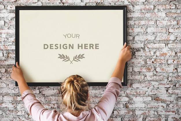 Design space with photo frame Premium Psd