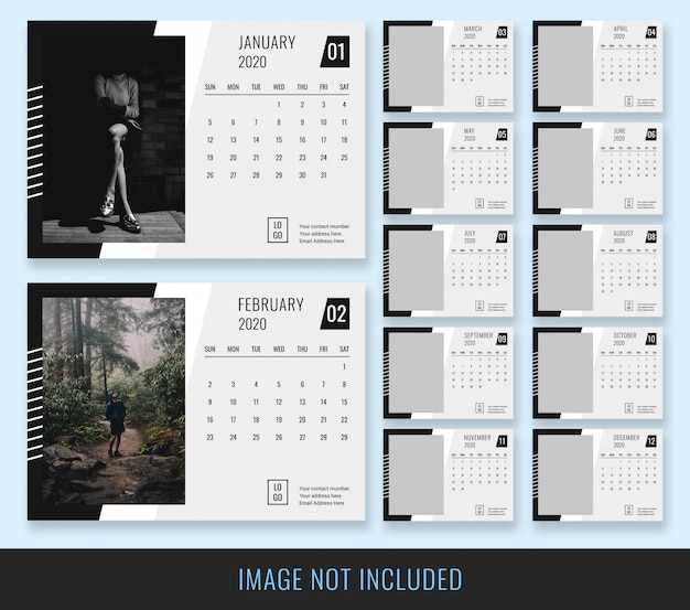 Desk calendar 2020 black white template Premium Psd