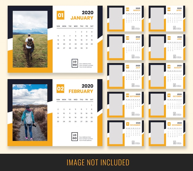 Desk calendar 2020 design Premium Psd
