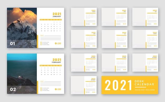 데스크 캘린더 2021 인쇄 준비 템플릿 프리미엄 PSD 파일