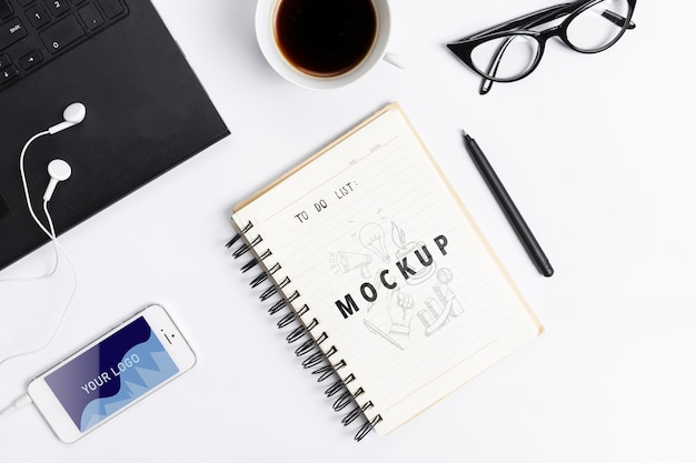Desk concept with modern devices Free Psd