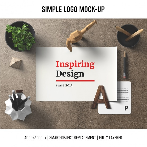 Desk mock up template Free Psd