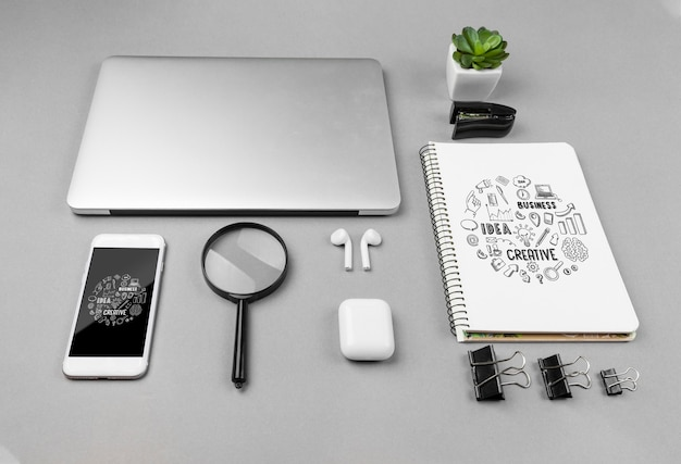 Desk office with modern devices Free Psd