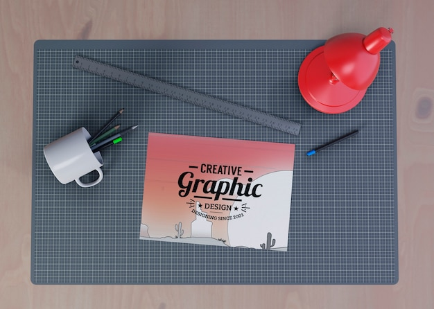 Desk view with useful tools concept Free Psd