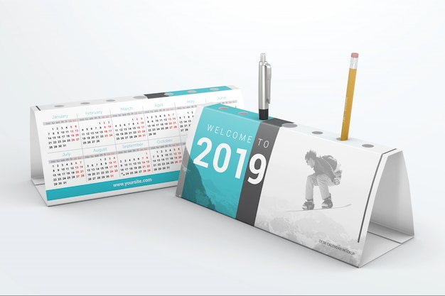 Desktop calendars with pen holder mockup Premium Psd