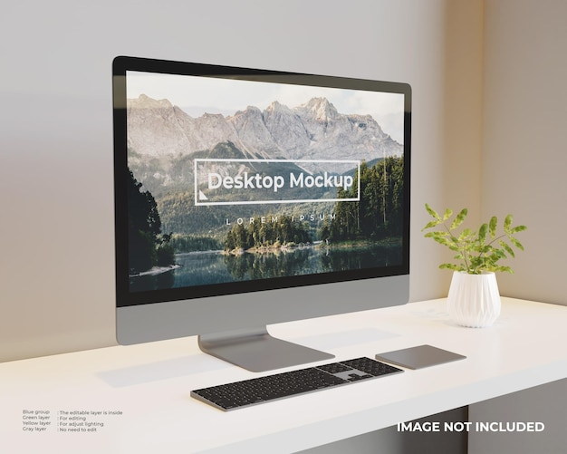 Desktop mockup left view Free Psd