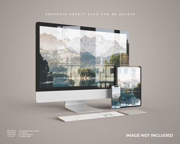 Desktop mockup with tablet and smartphone left Premium Psd