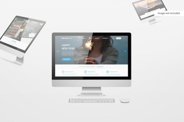 데스크탑 화면 모형 프리미엄 PSD 파일