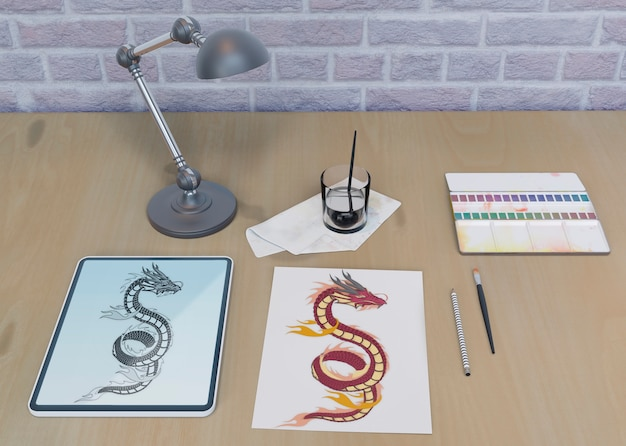 Desktop with snake drawing indoor Free Psd