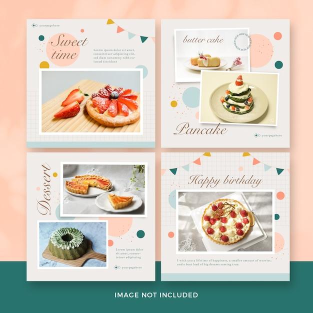 Dessert post banner collection Premium Psd