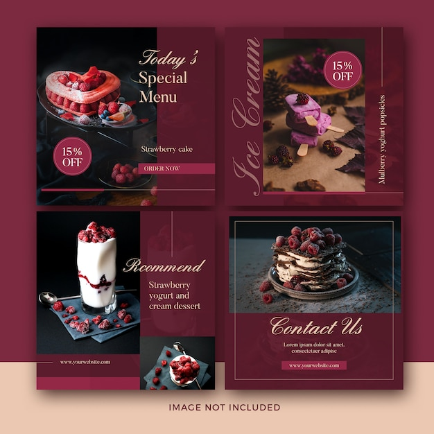 Dessert post banner collection Premium Psd