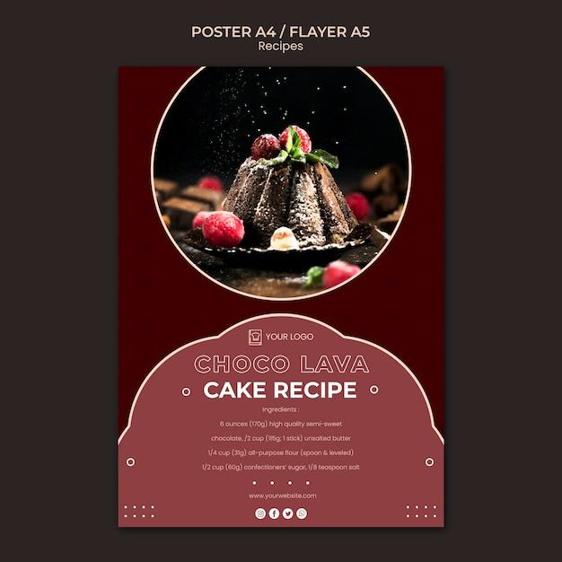 Шаблон плаката рецепты десертов Бесплатные Psd
