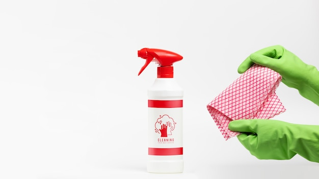 Detergent spray and cleaning cloth mock-up Free Psd
