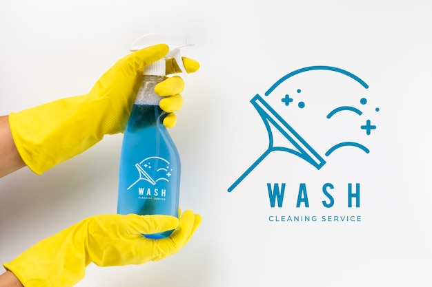 Detergent spray and protection gloves Free Psd