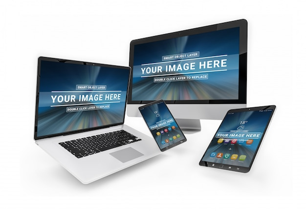 Devices floating with screen mockup, laptop, smartphone, computer and tablet Premium Psd