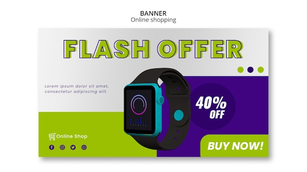 Devices online shop horizontal banner template flash offer Free Psd