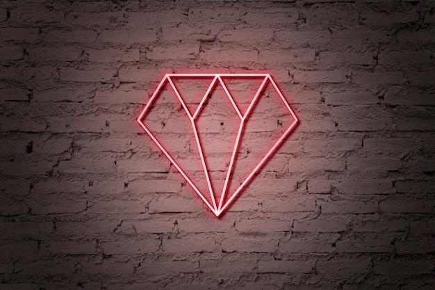 Diamond neon sign Free Psd