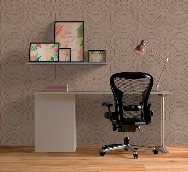 Different frames mock-up above desk Free Psd