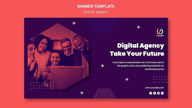 Digital agency solutions banner template Free Psd