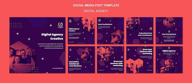 Шаблон сообщения в социальных сетях о решениях цифрового агентства Бесплатные Psd