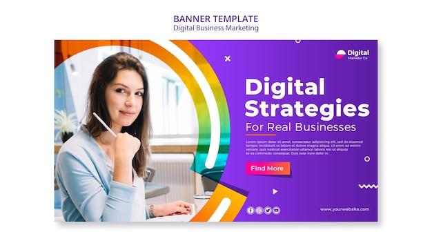 Шаблон рекламного баннера для цифрового бизнеса Бесплатные Psd