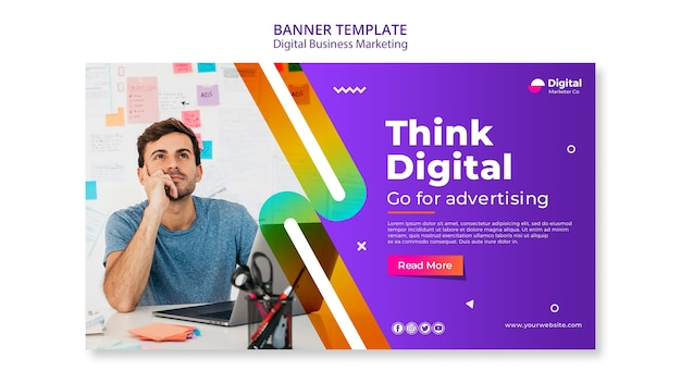Digital business marketing banner template Free Psd