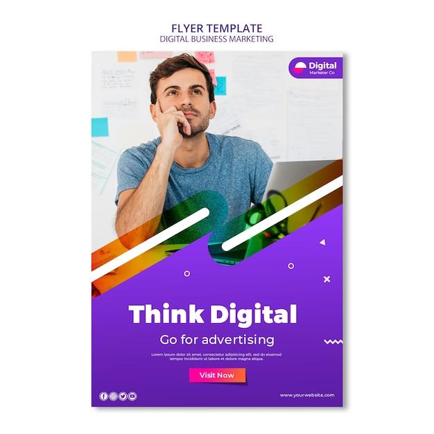 Шаблон флаера для цифрового бизнеса Бесплатные Psd