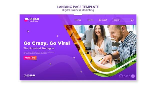 Целевая страница цифрового бизнес-маркетинга Бесплатные Psd