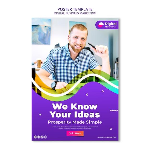 Шаблон рекламного плаката цифрового бизнеса Бесплатные Psd