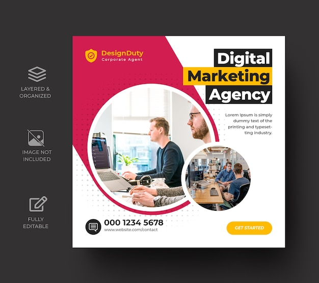 Digital business marketing promotion social media post template Premium Psd