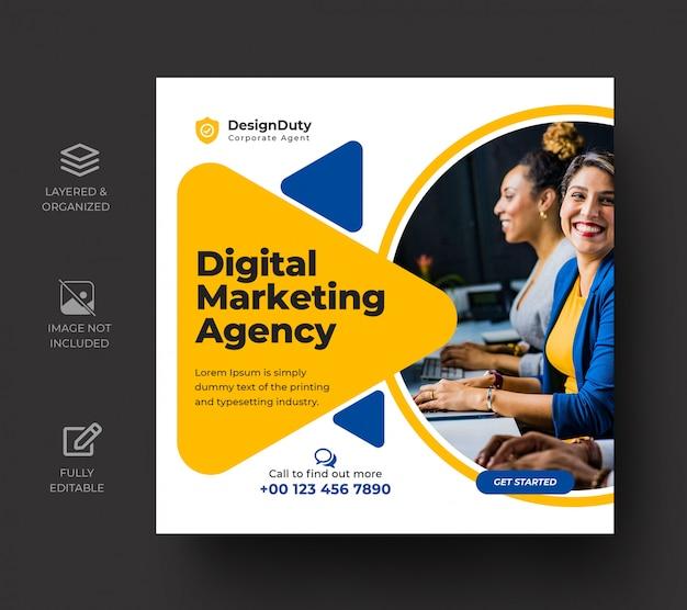 Цифровой бизнес маркетинг продвижение в социальных сетях опубликовать шаблон Premium Psd