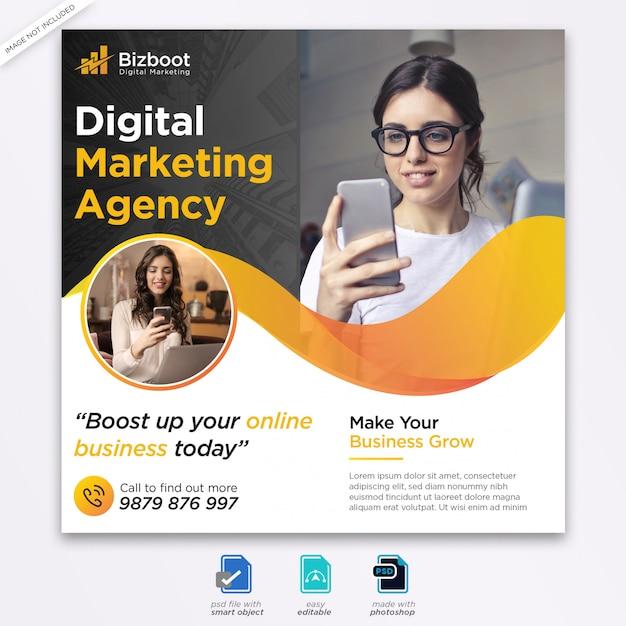 Digital business marketing social media banner or square flyer Premium Psd