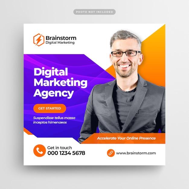 Цифровой бизнес маркетинг социальные медиа post banner или square flyer Premium Psd