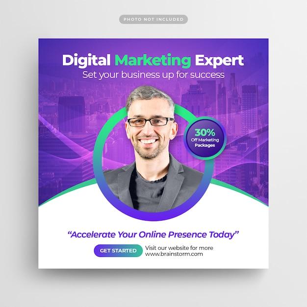 Digital business marketing social media post banner or square flyer Premium Psd