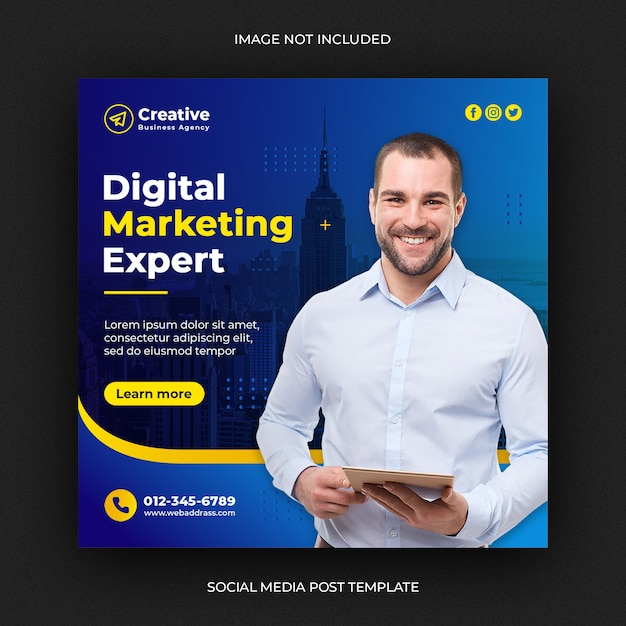 Digital business marketing social media post or square web banner Premium Psd
