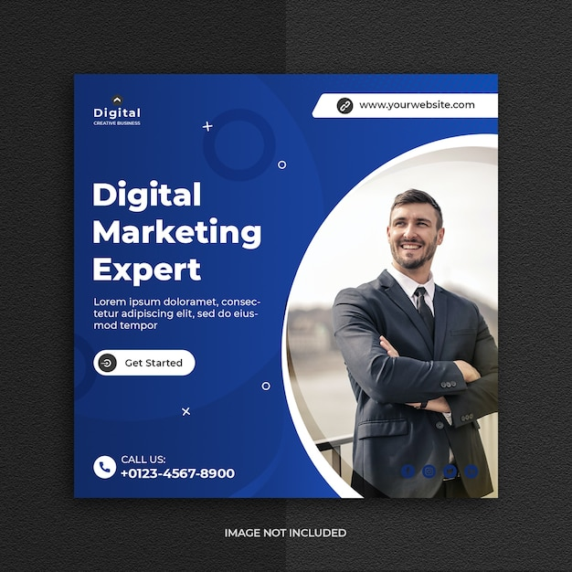 Digital business marketing social media post template Premium Psd