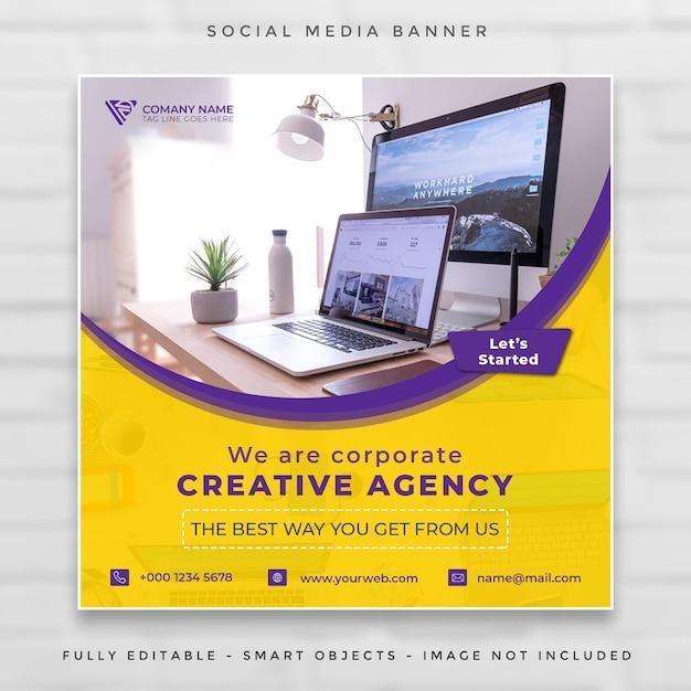 Digital business marketing square banner Premium Psd