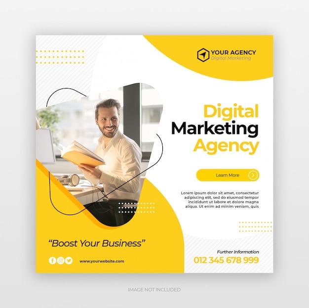Цифровой бизнес маркетинг квадратный флаер Premium Psd