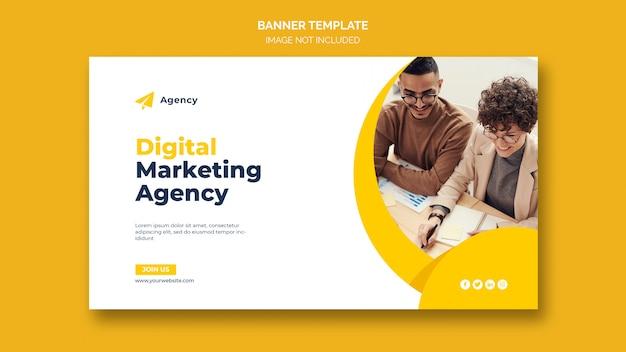 Цифровой бизнес маркетинг шаблон веб-баннера Бесплатные Psd