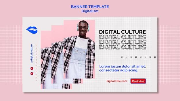 Цифровая культура и молодой человек цифровой баннер Бесплатные Psd