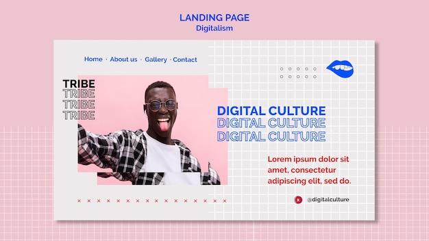 Целевая страница молодого человека цифровой культуры Premium Psd