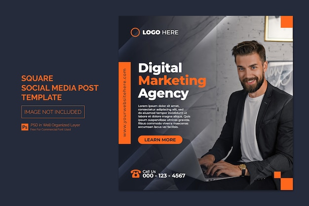 Digital marketing agency and corporate social media post or square web banner template Premium Psd