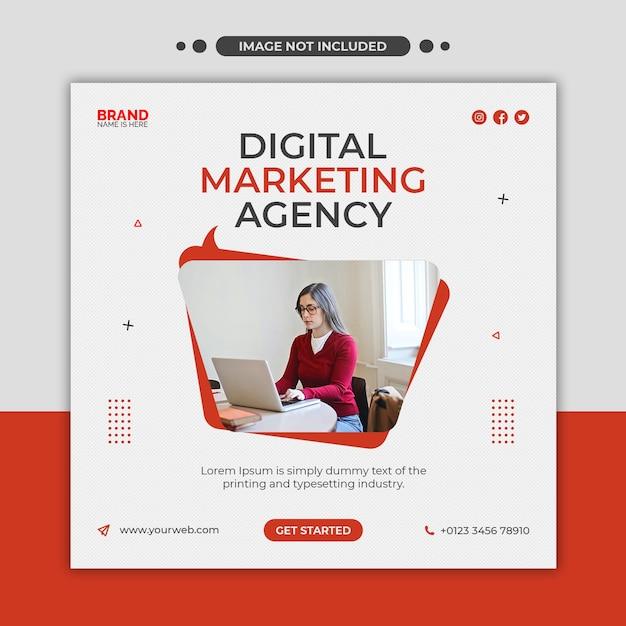 Digital marketing agency social media, instagram, web banner or square flyer template Premium Psd