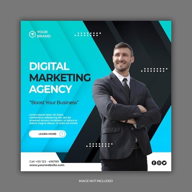 Шаблон сообщения в социальных сетях агентства цифрового маркетинга Premium Psd
