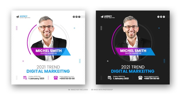 Digital marketing agency social media post and web banner or square flyer template Premium Psd