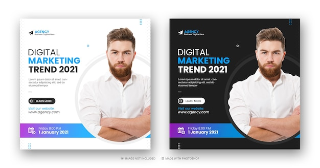 Digital marketing agency soical media instagram post, web banner or square flyer template Premium Psd