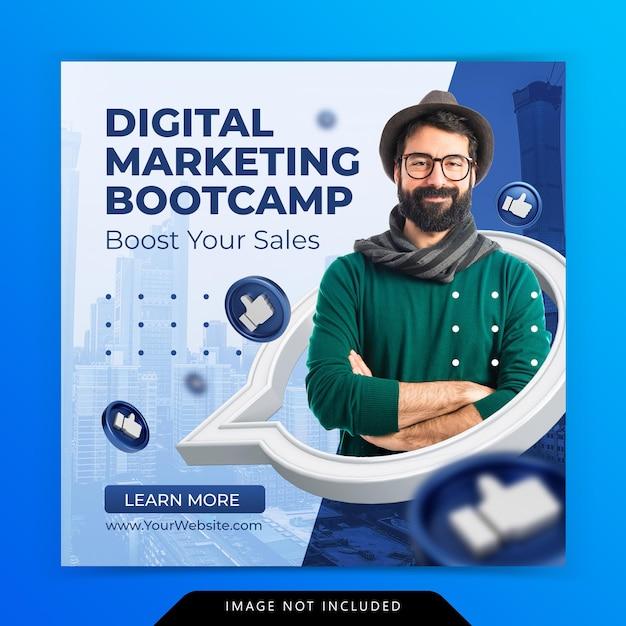 Цифровой маркетинг продвижение бизнеса в социальных сетях instagram пост шаблон Premium Psd