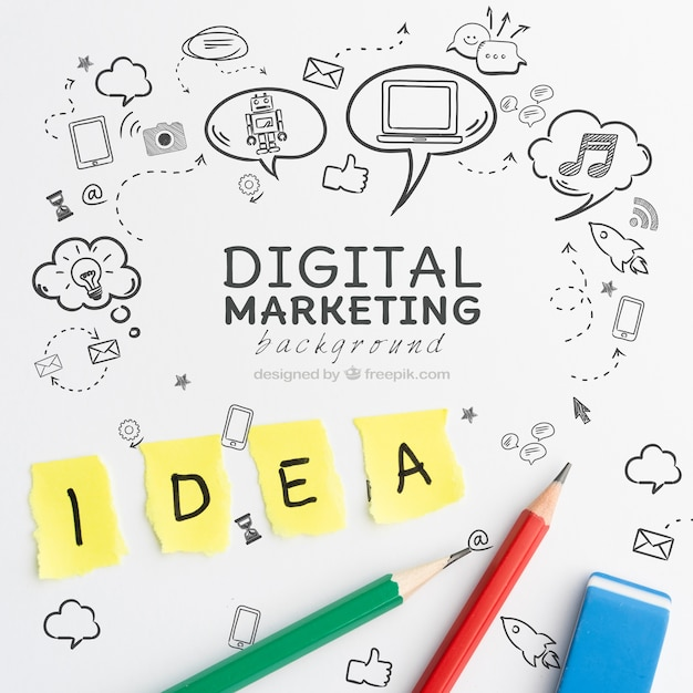 디지털 마케팅 개념 아이디어와 연필 무료 PSD 파일